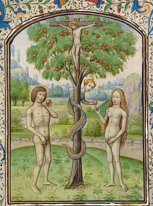 Adam og Eva og en mistænkeligt kvindelig slange. Fra ca. 1460.