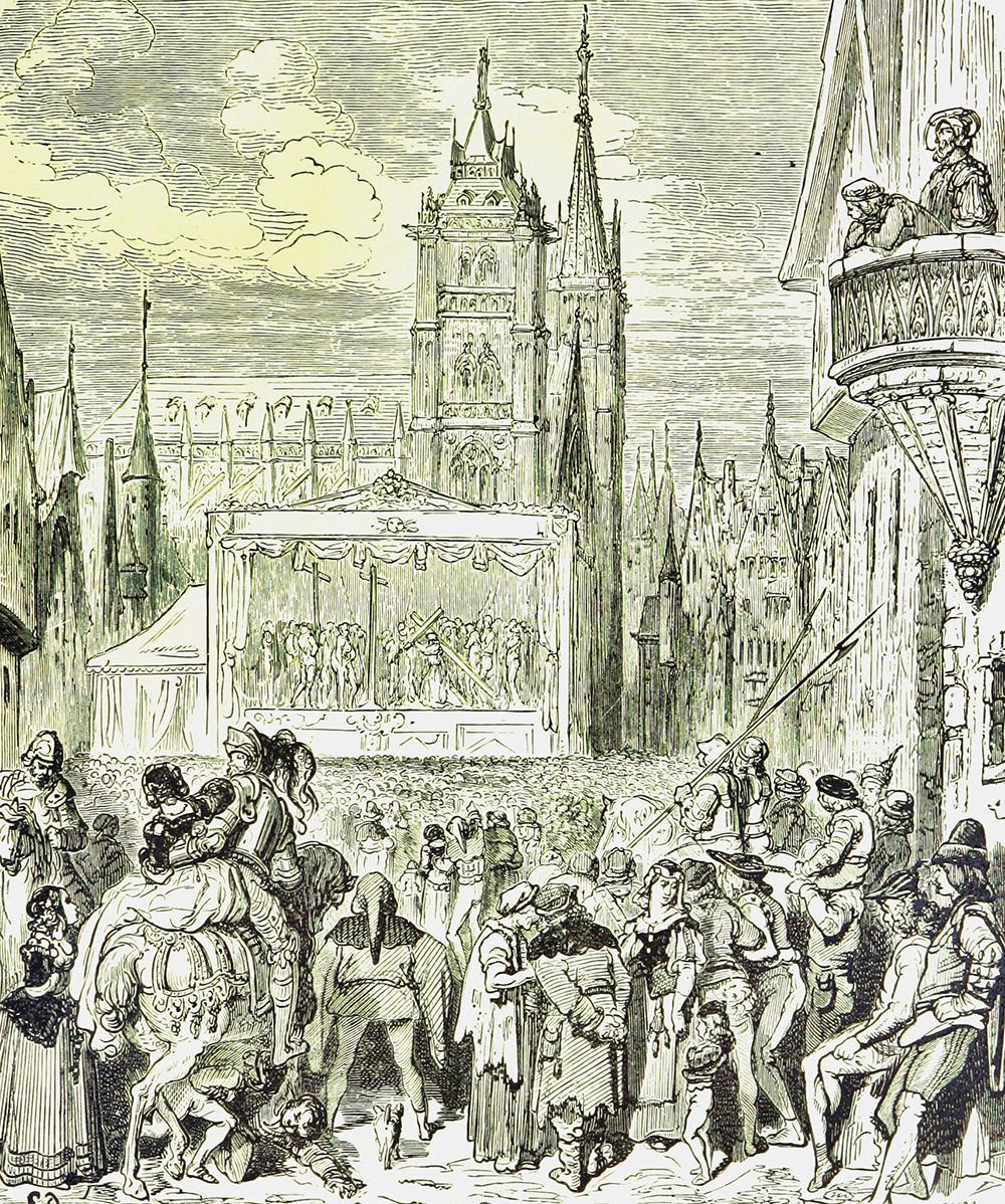 Mysteriespil fra 1500-tallets Flandern afbilleder i belgisk bog fra 1800-tallet.