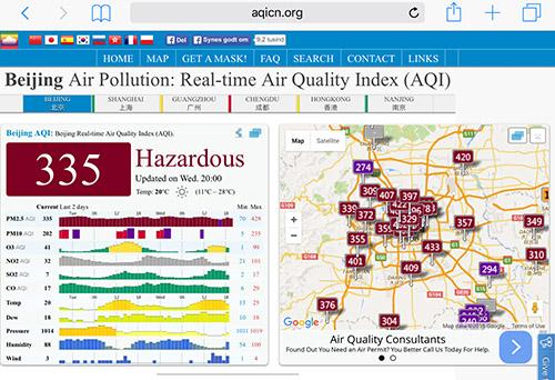 Partikelforurening på den hårde måde. Alt er tåget og man hoster om aftenen.