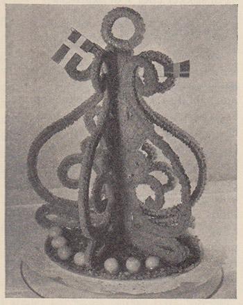 Alternativ kransekage fra 1958. Kilde: Gyldendals Store Kogebog, s. 113