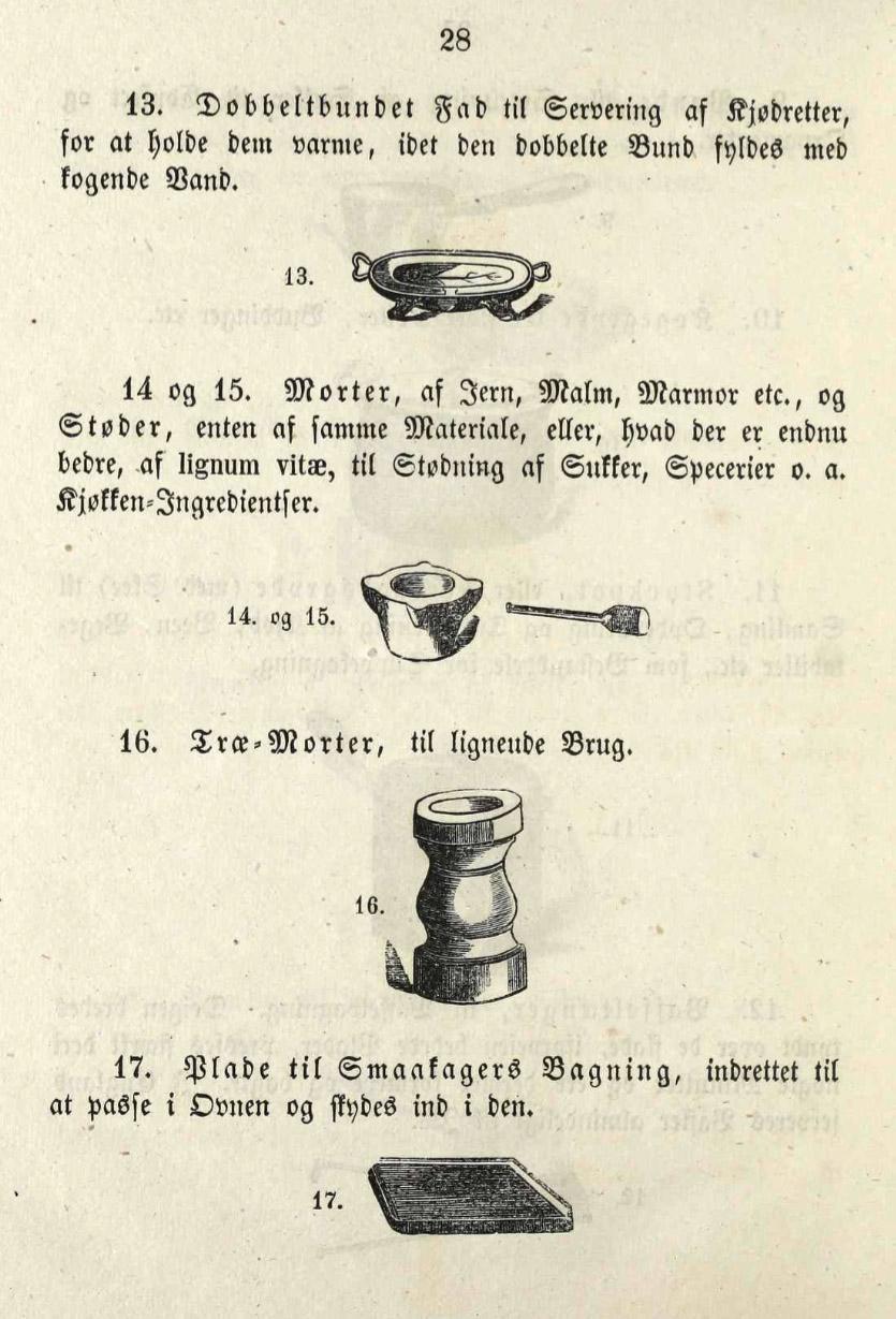 Køkkengrej fra 1855. Nederst ses en småkageplade.