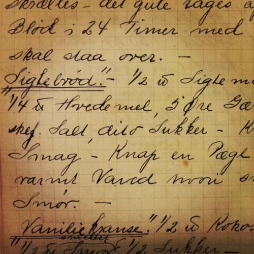 Den yndigste håndskrift fundet i en af mine gamle kogebøger fra 1936.