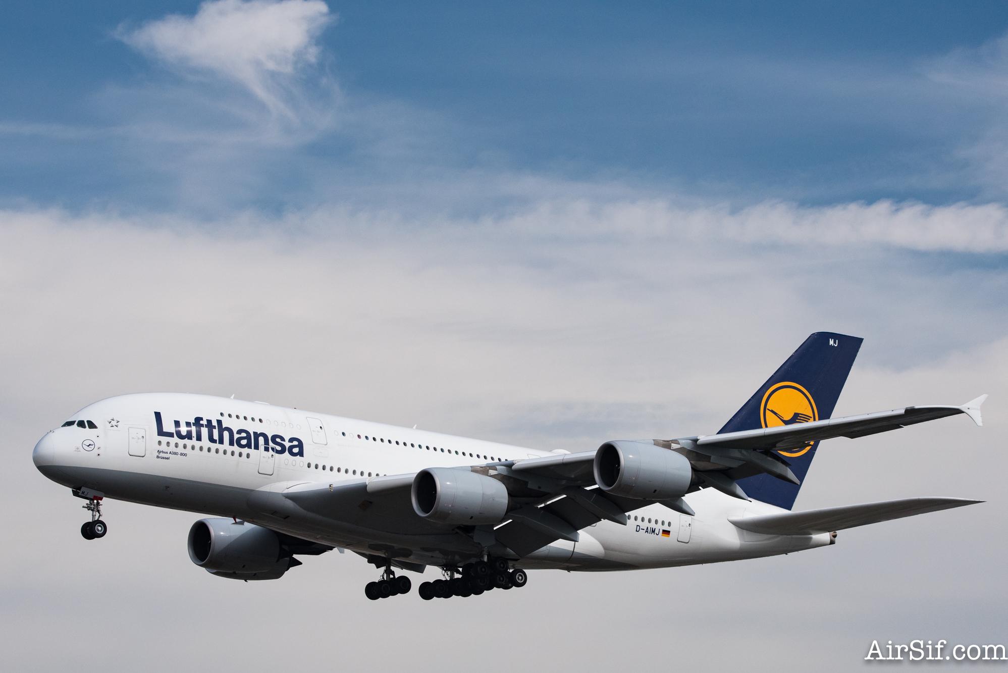 Jeg fløj på præcis dette fly, en Airbus A380 med registreringskoden D-AIMJ
